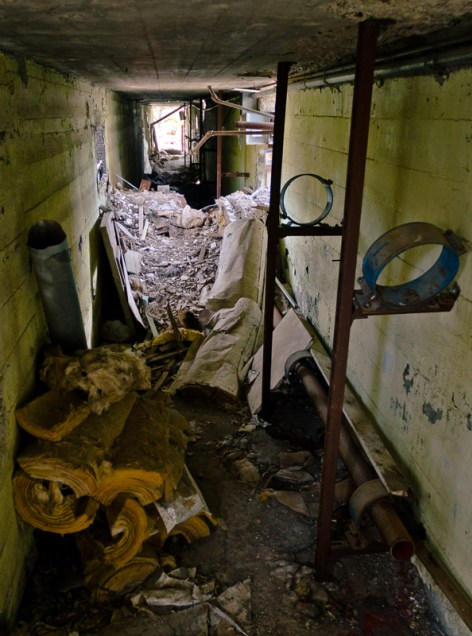 4. Underground steam tunnel - broken into years after the place closed down