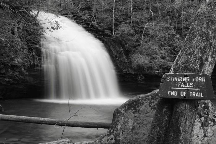 5) Stinging Fork Falls. B&W version.