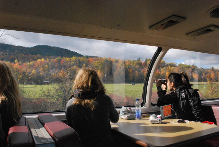 Inside the state park you'll find the Adirondack Scenic Railroad!