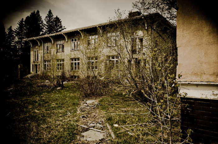 5. One of the ground's buildings, heavily damaged by natural weathering, arsonists, and others who visit there