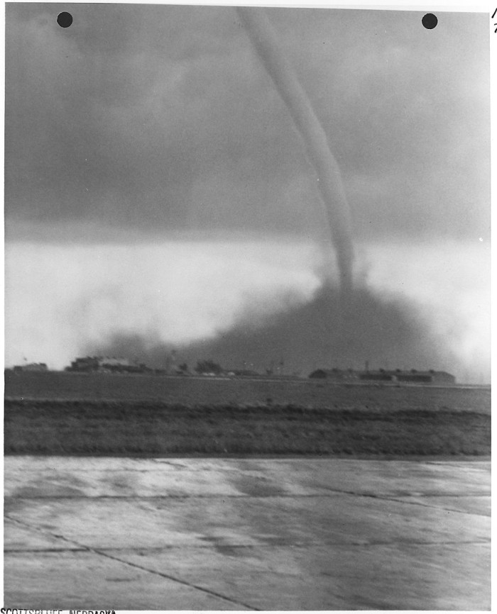 7. This fearsome tornado touched down at the Scottsbluff airport in 1955.