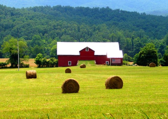 4. You get us with a red barn.