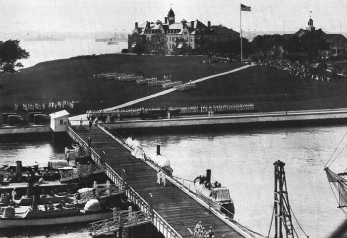 3. Here is a rare look at the Naval War College in Newport in 1914. You can see Navy recruits in formation in the yard in this stunning image.