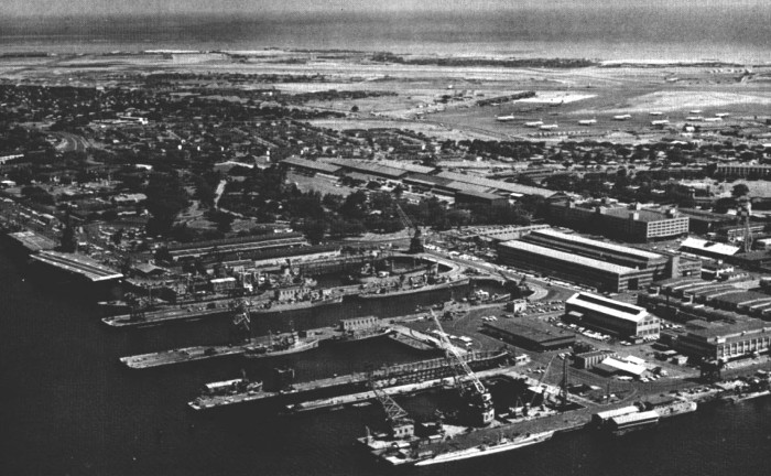9) View of the United States Navy Pearl Harbor Naval Shipyard, circa 1963.