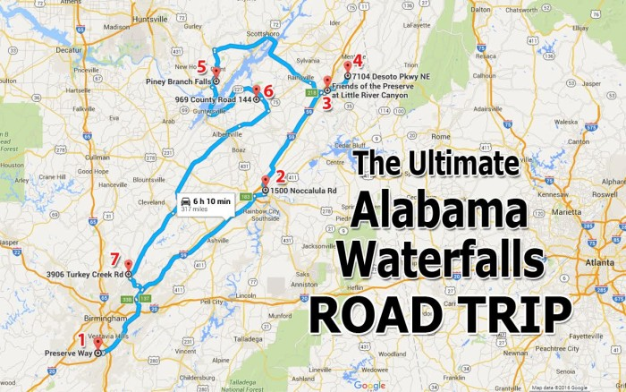 The Ultimate Alabama Waterfalls Road Trip - Road map of alabama