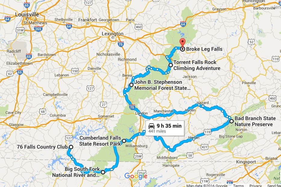 The Ultimate Kentucky Waterfall Road Trip - Road map of kentucky