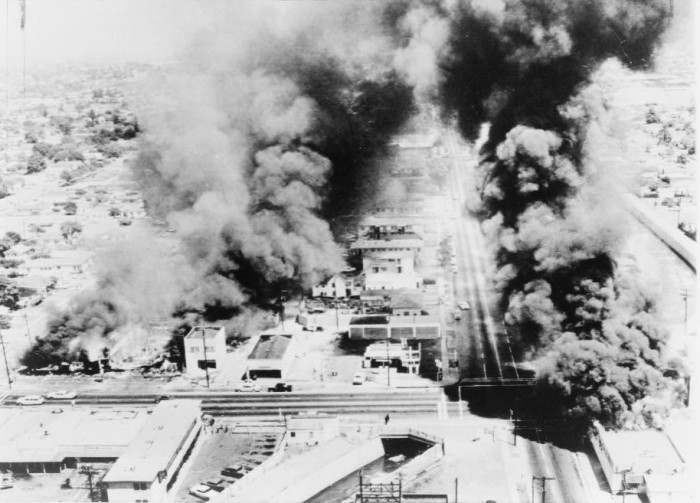 5. Buildings on fire during the Watts riots in Los Angeles that took place over six days in August 1965.