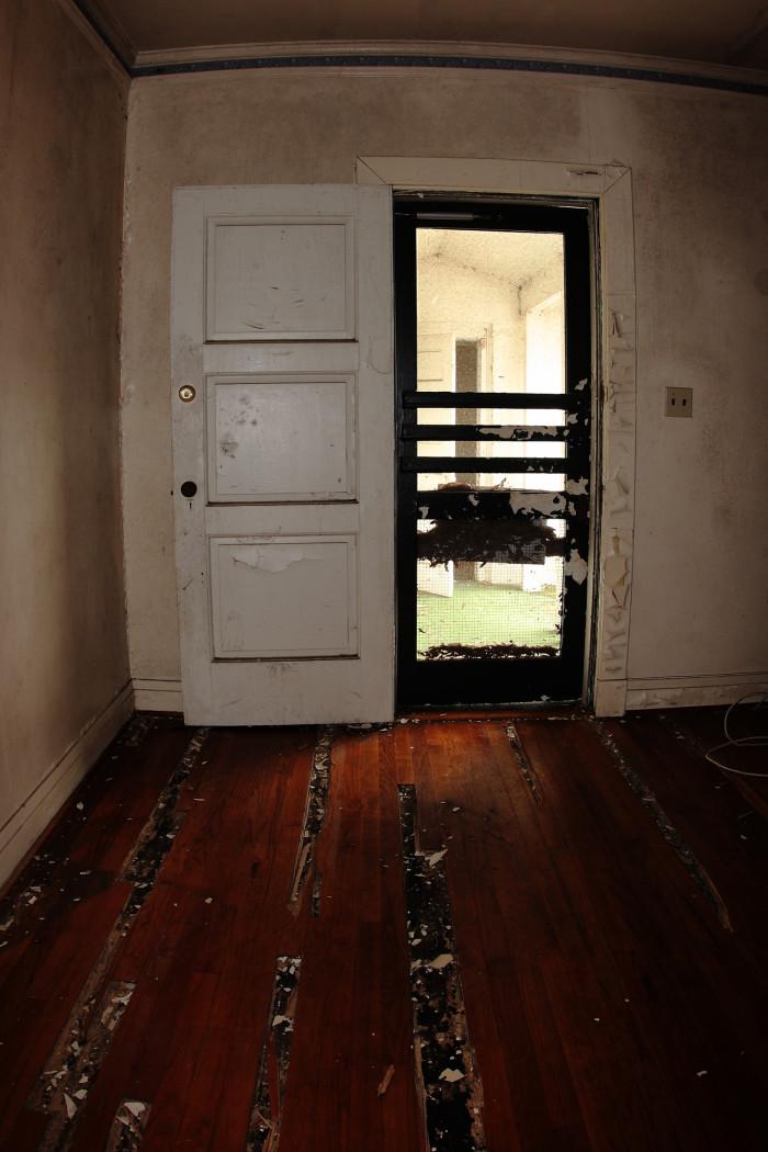 9. A doorway at an abandoned house at the Charleston Navy Yard.