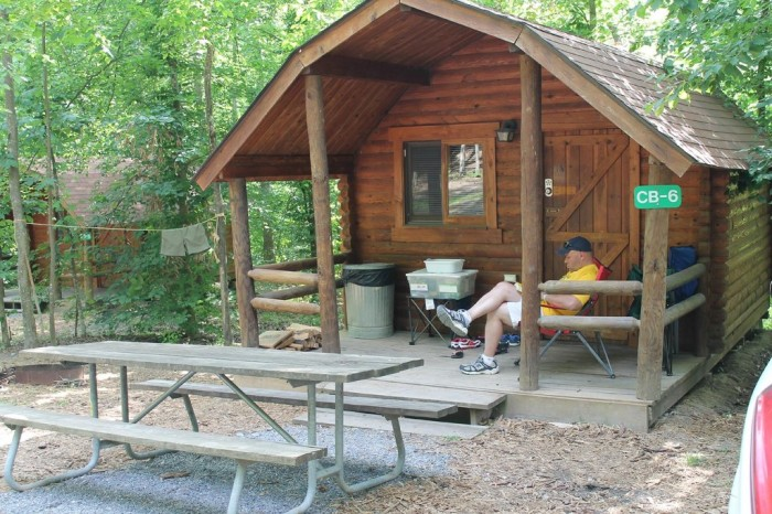 There are rustic bunkhouse cabins and scenic campsites.