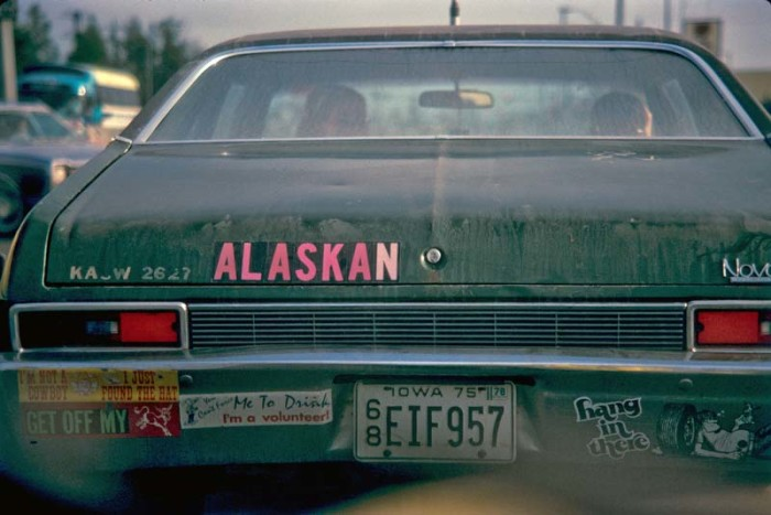 8. A visitor from Iowa reps their Alaskan pride on the back of the car.
