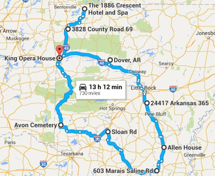 The Ultimate Terrifying Arkansas Road Trip - Arkansas highway map