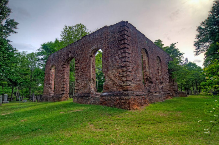 8. Perseverence stands tall in the ruins of this church that's been burned three times. Biggin Church is located near Moncks Corner, SC.