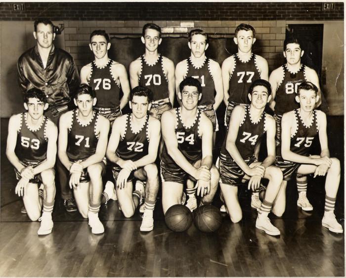11. The 1954-55 Varsity Basketball team at Bishop England High School in Charleston.