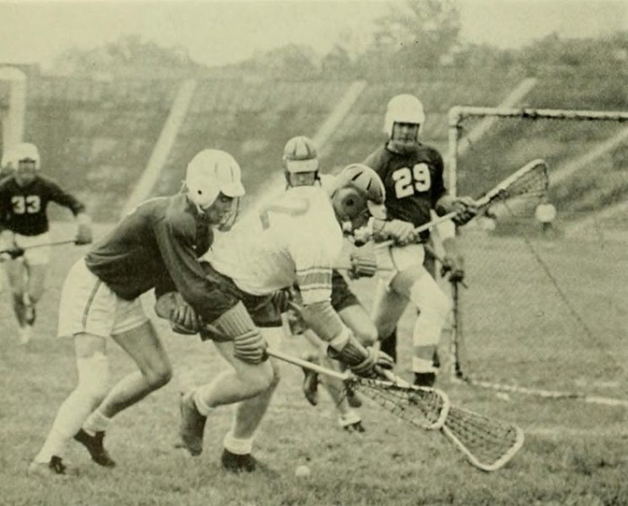10. A 1955 lacrosse game between the John's Hopkins Blue Jays and University of Maryland.