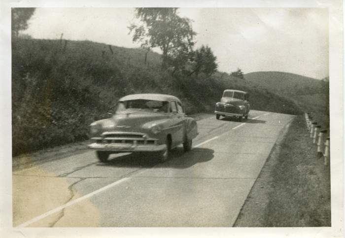 8. These were cars on Route 250 South of Cameron in the 1950s.