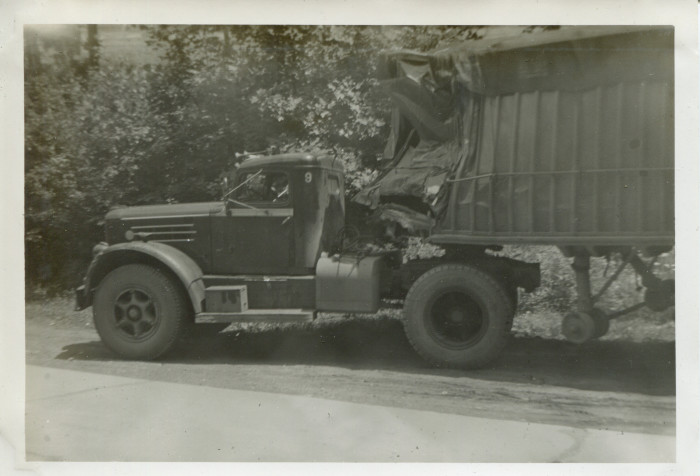 15. This is what tractor trailers looked like in the 1950s and this one, seen near Cameron, was smashed.