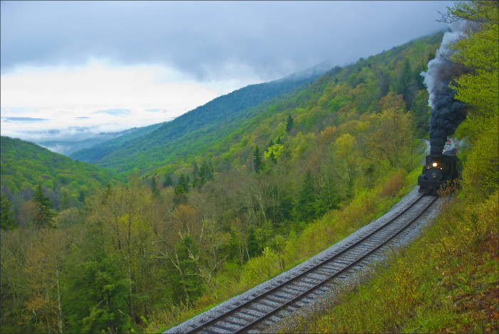 Work started on the railroad in 1901. The railroad climbs Back Allegheny Mountain to Whitaker Station, which was the site of a logging camp for immigrants building the railroad.