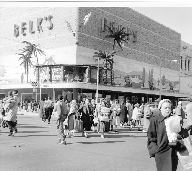 2. Christmas shoppers outside Belk Department Store at Main and Hampton in Columbia in 1955.