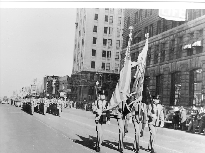 6. Citadel Cadets marching down Main Street in Columbia in 1950.