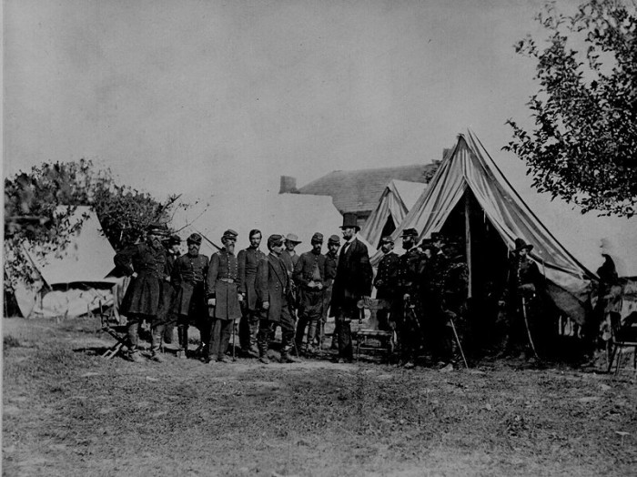 7. This spectacular photo of President Lincoln visiting soldiers at Antietam was taken in 1862.