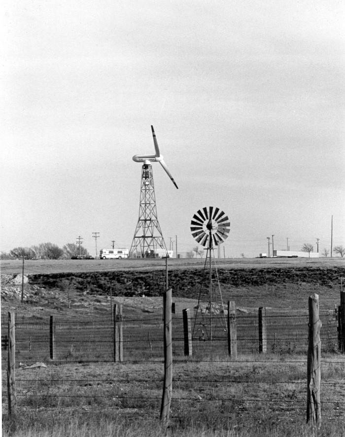 3. New Mexico currently has nine wind power plants. This turbine near Clayton is an example of one of our state's early wind turbines.