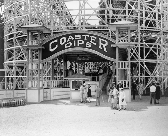 13. The Coaster Dips roller coaster at Glen Echo Park. Photo taken between 1909 and 1932.