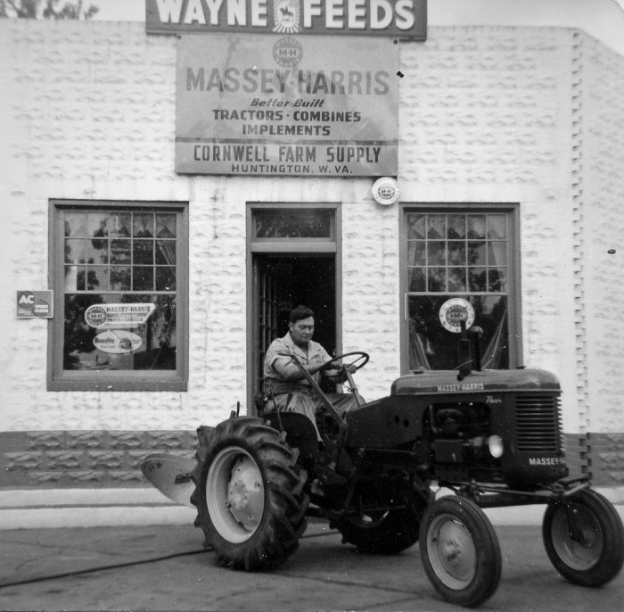 16. This is a photograph Harry Cornwell a partner in this Massey-Harris (later Massey-Ferguson) dealership in Huntington, West Virginia circa 1954.