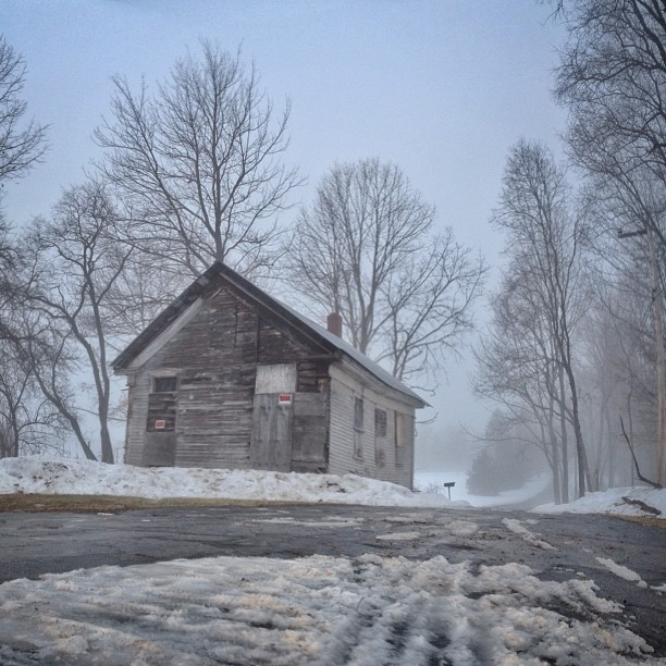 7. Snow just makes this abandoned building even spookier.