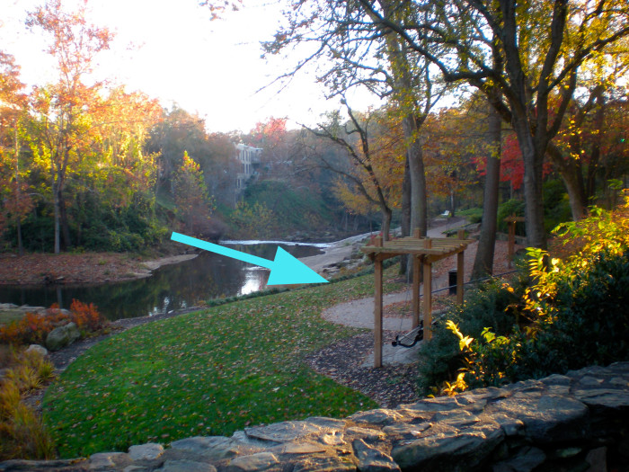 In Greenville, find yourself a romantic quiet little spot like this swing with a view of the falls at Falls Park on The Reedy.