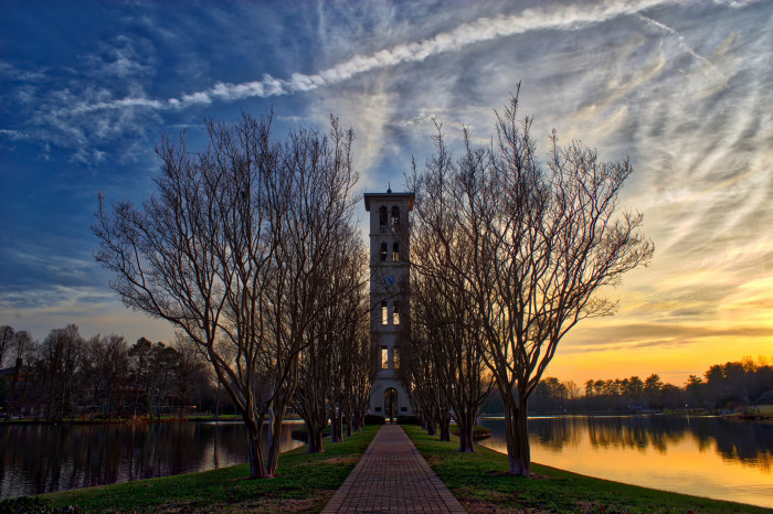 6. ...and so is the bell tower at Furman in this photo taken in the winter. It looks beautiful and cold.