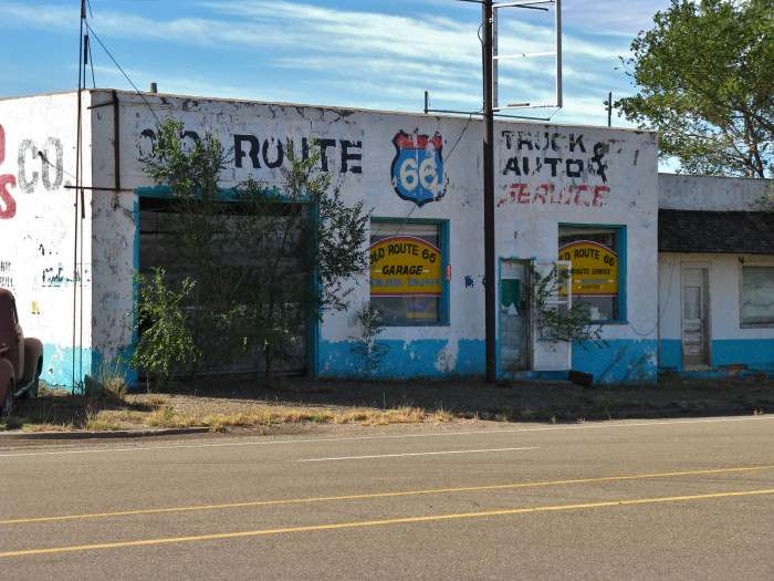4. Approximately 200 people live in San Jon, near the Texas border. But this garage has seen better days.
