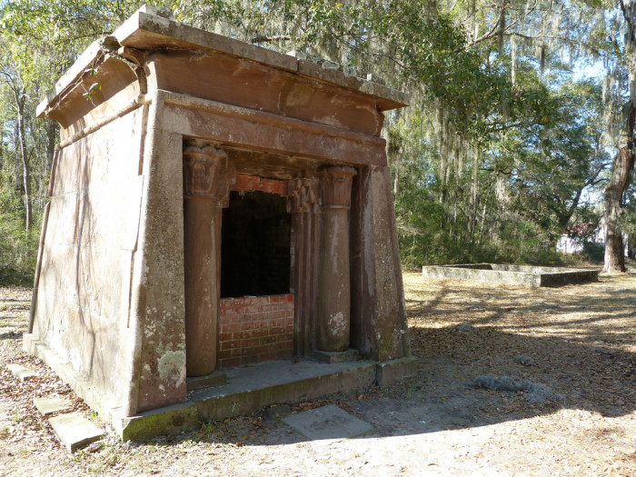 A disturbingly open tomb at the Chapel of Ease.
