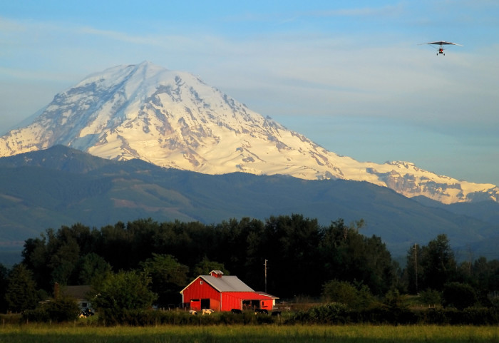 12. The iconic Mount Rainier makes for a captivating backdrop at sunset.