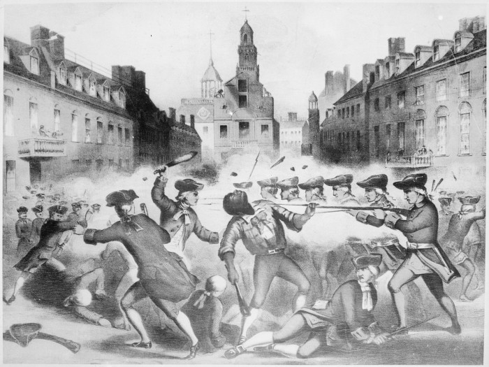 2. When British troops opened fire on Boston citizens during the Boston Massacre in 1770.