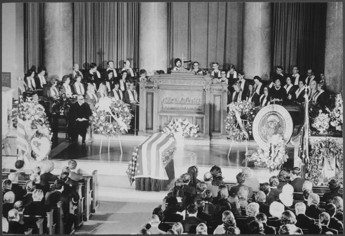 11. A large crowd gathers at President LBJ's funeral. (Washington, D.C., 1973)