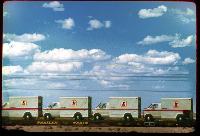 15. Mail vans traveling by train through New Mexico in 1976.