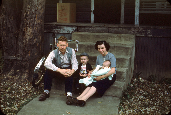 7. Jerry, Jack, Charlotte, and Florence Covey in Mannington, W.Va. circa 1952.