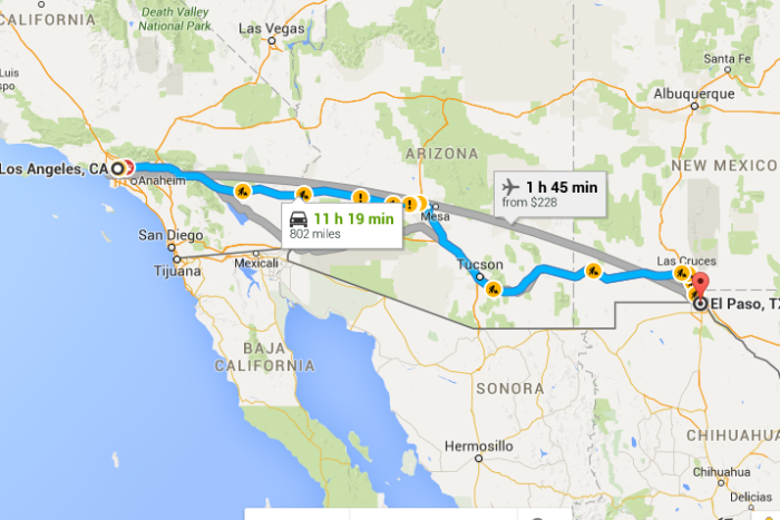 6. El Paso is closer to California than Beaumont.