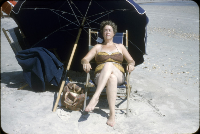 5. A woman catches some rays at Myrtle Beach in 1958.