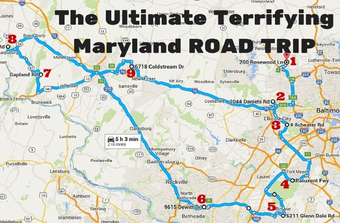 The Ultimate Terrifying Maryland Road Trip - Maryland road map