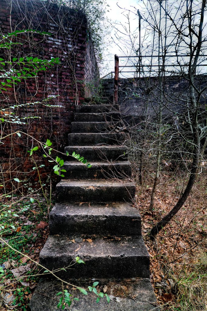 5. These empty staircases carry only memories now at this mill in Newry, SC.
