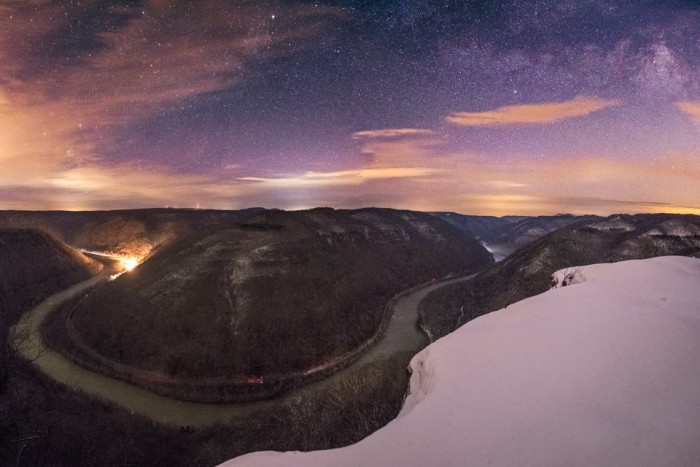 11. This is the view from Grandview, overlooking the New River Gorge on a starry night.