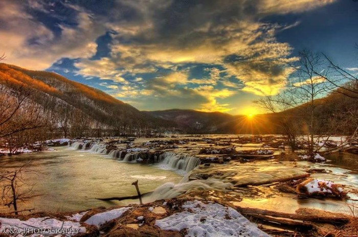 6. This spectacular shot of Sandstone Falls at sunset.