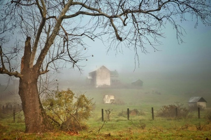 1. Check out this beautiful photo of a foggy farm house in Fort Ashby.