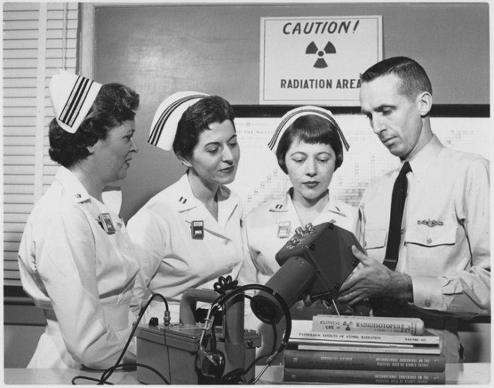 2. A demonstration of radiation survey instruments, as part of the nuclear nursing course at the National Naval Medical Center, Bethesda in 1958.