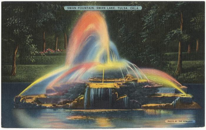 "3. ""Swan fountain, Swan Lake, Tulsa, Okla."""