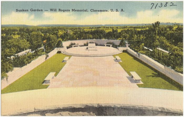 """12. """"Sunken Garden -- Will Rogers Memorial, Claremore."""""""