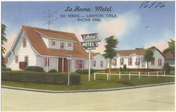 """13. """"La Homa Motel, 302 Ferris - Lawton, Okla., phone 5906."""""""