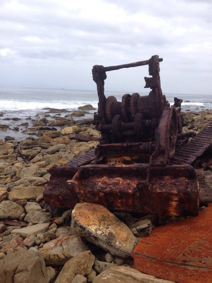 8. The rusted remnant of a shipwreck near Palos Verdes that happened back in 1961 leaves its imprint on the rocks and sand.