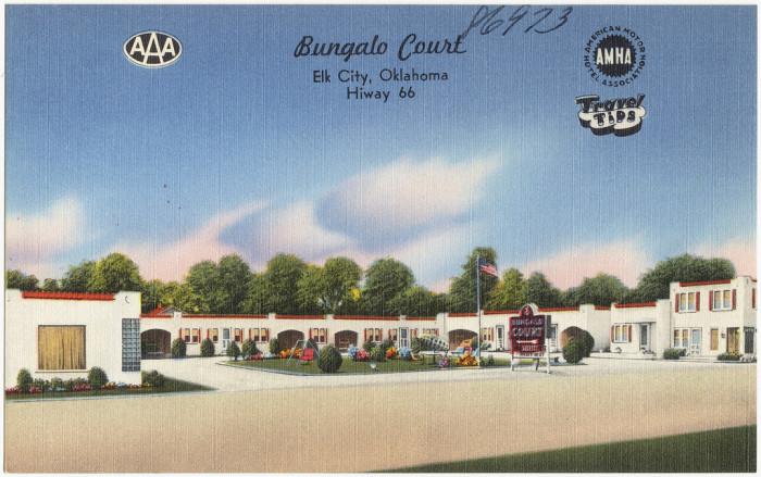 "1. ""Bungalo Court, Elk City, Oklahoma, Hiway 66."""